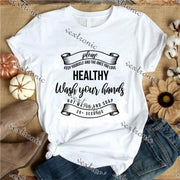 Unisex Short Sleeve Round-neck Loose Printed T-shirt- Please Keep Yourself And The Ones You Love