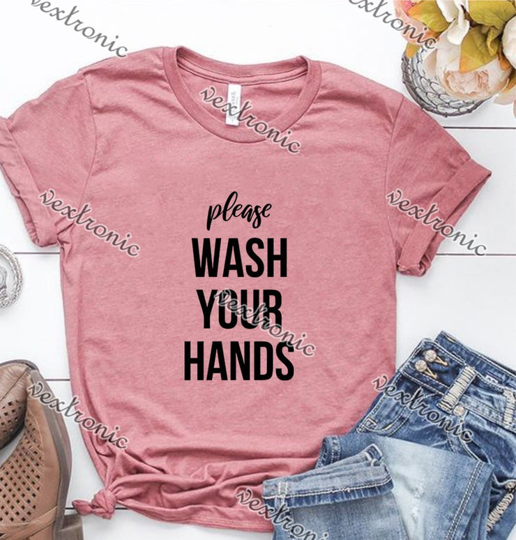 Unisex Short Sleeve Round-neck Loose Printed T-shirt- Please Wash Your Hands