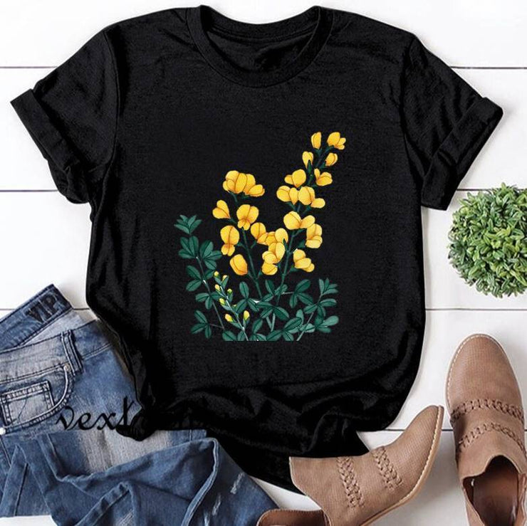 Women Short Sleeve Round-neck Loose Printed T-Shirt