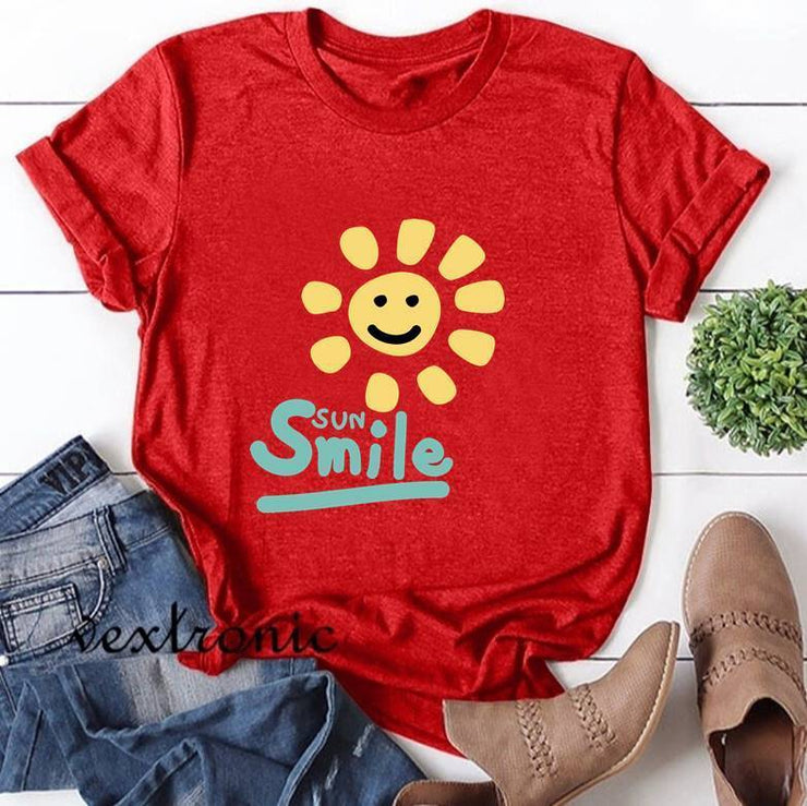 Women Short Sleeve Round-neck Loose Printed T-Shirt-Smile