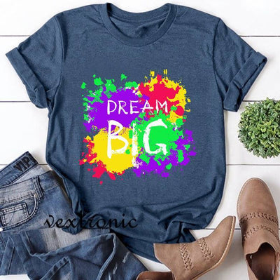 Women Short Sleeve Round-neck Loose Printed T-Shirt-Dream