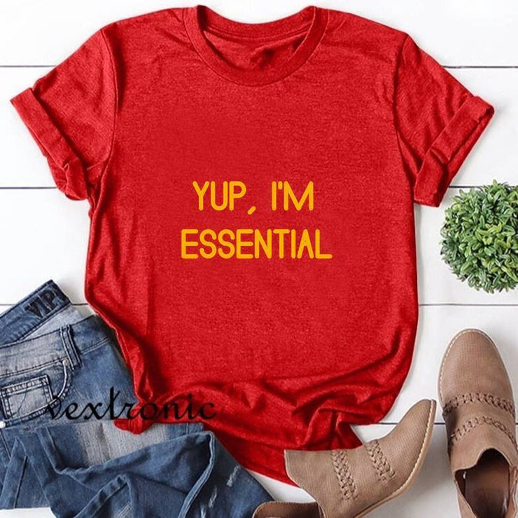 Women Short Sleeve Round-neck Loose Printed T-Shirt-YUP,I'M ESSENTIAL