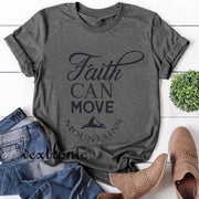 Women Short Sleeve Round-neck Loose Printed T-Shirt-FAITH