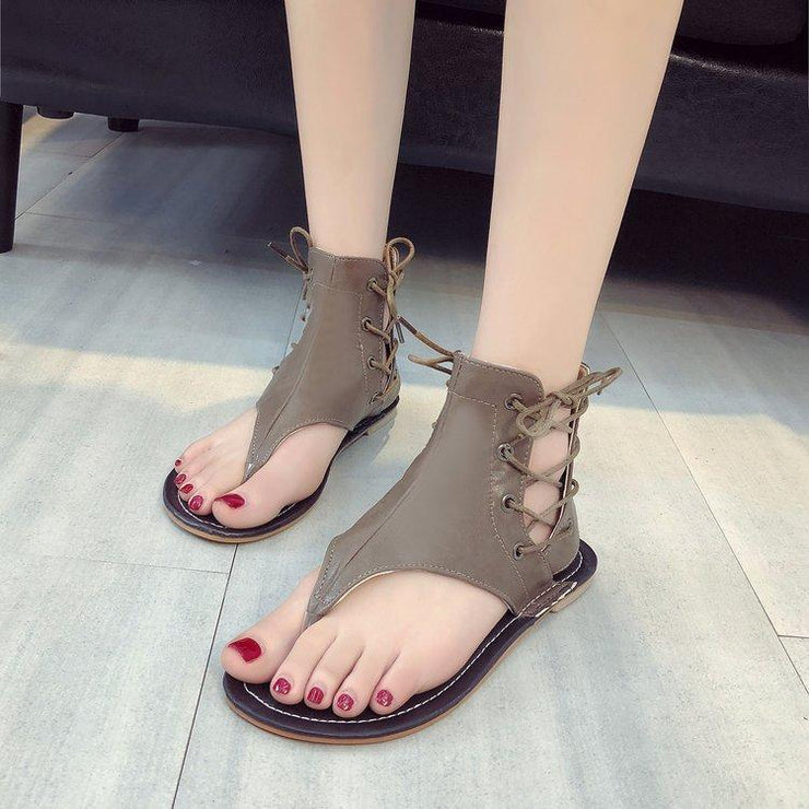 Women's Sandals Zipper Plus Size Comfortable Flat Shoes