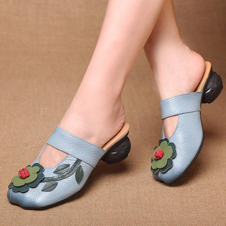 Women's Soft Leather Mid Heel Mule Sandals Slippers