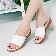 Womens Summer Slippers Real Leather Slide Sandals Casual Beach Sandals Shoes