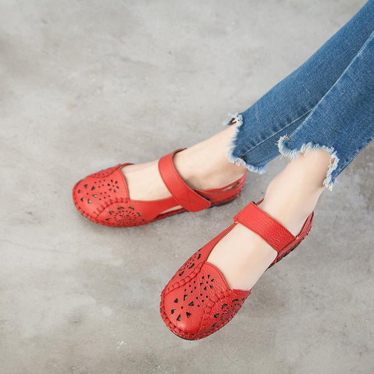 Women's Sandals Embroidered Retro Fashion Comfortable Soft Sole Leather Shoes