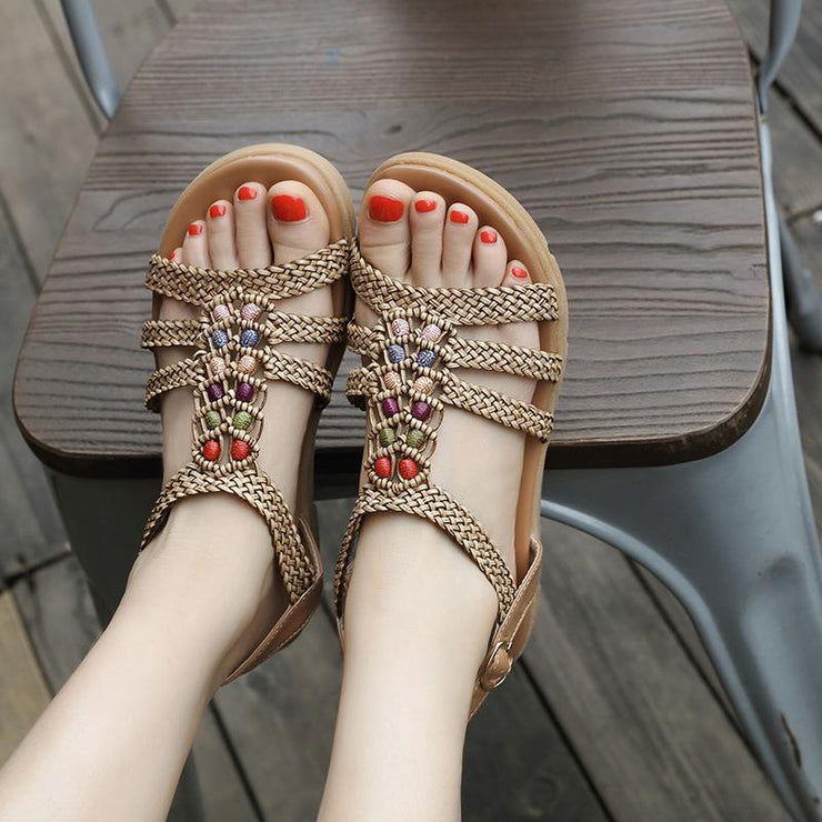Bohemia Comfy Bead Weave Buckle Flat Sandals for Women