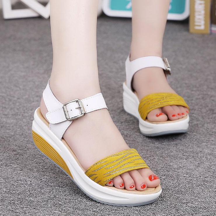 Women Casual Leather Buckle Outdoor Platform Sandals