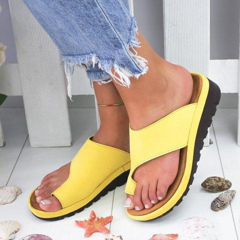 Women's Fashion Solid Color Toe Casual Sandals Slipper