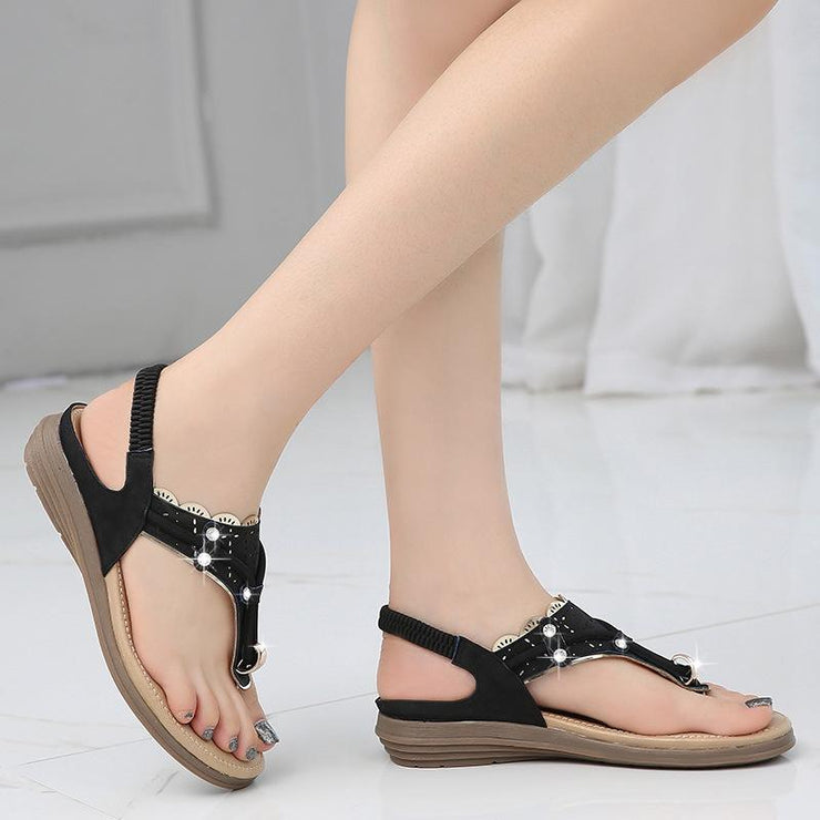 Women Casual Soft Leather Clip Toe Rhinestone Flat Sandals