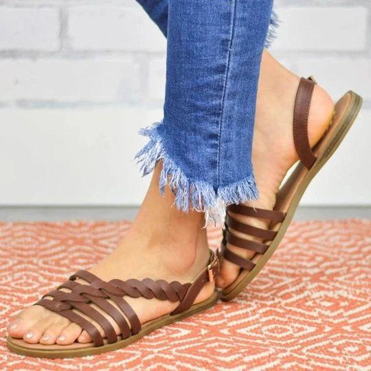 Women's Large Size Beach Hollow Braided Buckle Flat Sandals
