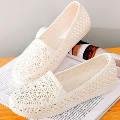 Women's fashion jelly leather flat heel women's leather sandals and slippers