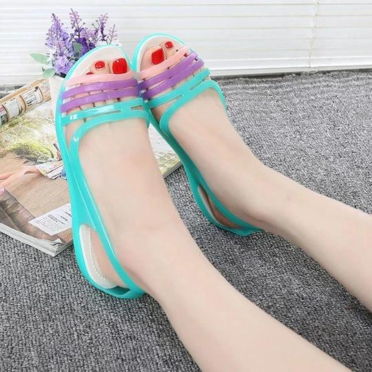 Women's soft and comfortable flat sandals students casual shoes plastic jelly sandals