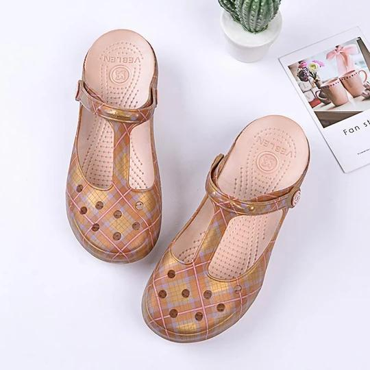 Women's hole shoes authentic female summer new outdoor beach soft bottom slope sandals