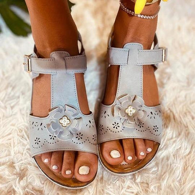 Women's Peep Toe Floral Hollow Wedge Sandals