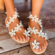 Women's Floral Rhinestone Handmade Beach Sandals Shoes
