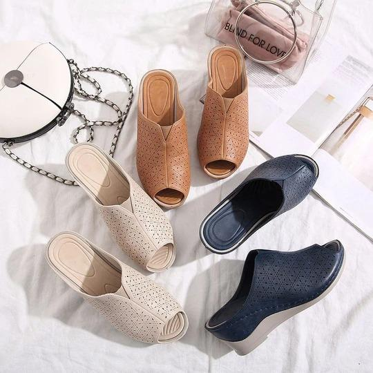 Women's Retro Shoes Casual Fish mouth Platform High Heels Sandals