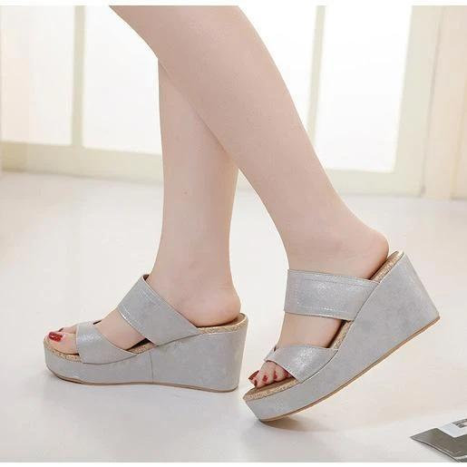 Women's seaside resort beach sandals slope big yards comfortable slippers