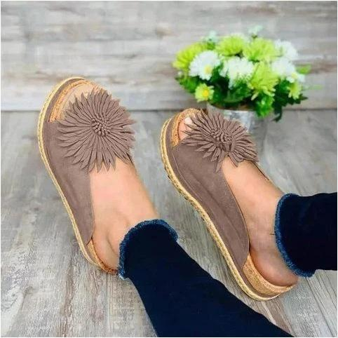 Women Elegant Flower Slip On Sandals
