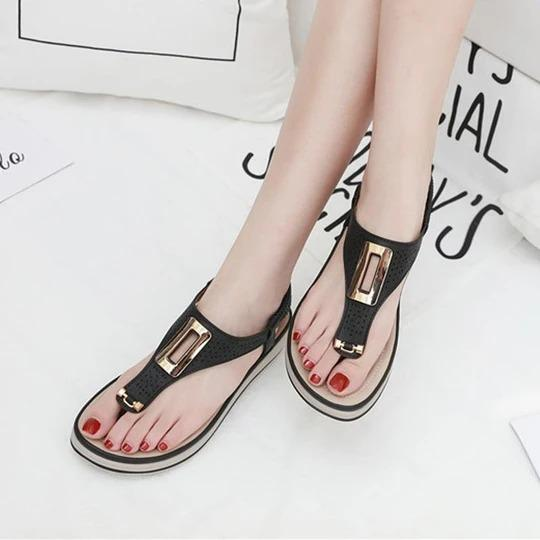 Woman Retro Sandals Women Flip Flops Female Hook Loop Thong Beach Shoes Casual Flat Ladies Sewing Summer Elastic Band Slingbacks