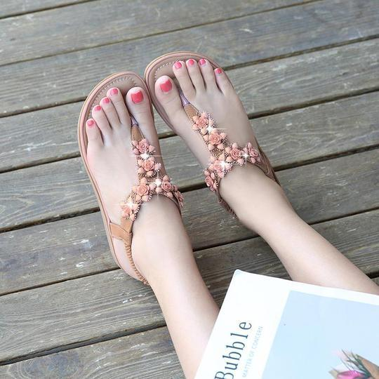 Women's Wedding Sandals Rhinestone Bohemian Dress Flip-Flop Elastic Band Shoes Ladies Shoes Sexy High Quality Outside