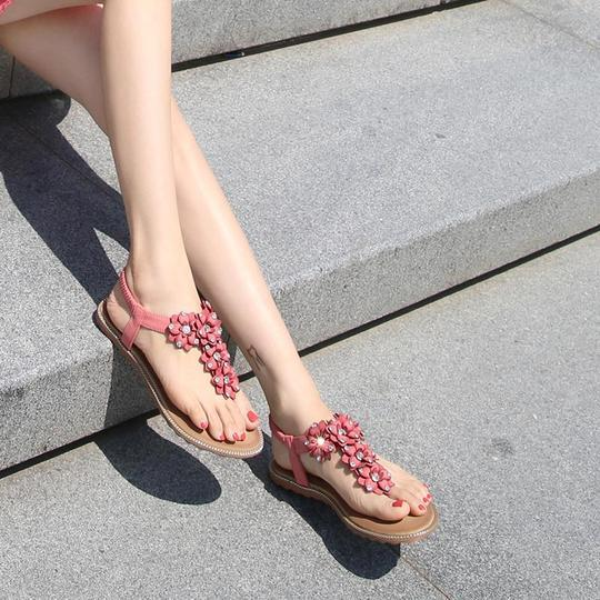 Women Ladies Wide Shoes Bohemia Beach Sandals Flats Summer Flip flops Flower Rhinestones High Quality Elastic Band Low Cutter Shoes