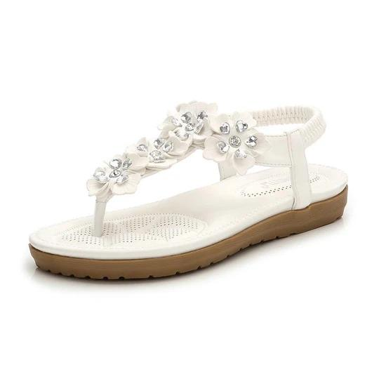 Women Casual Flat Sandals Woman Bohemia Flower Crystal Flip Flop Beach Soft Summer Sexy Sandals Retro Female Shoes