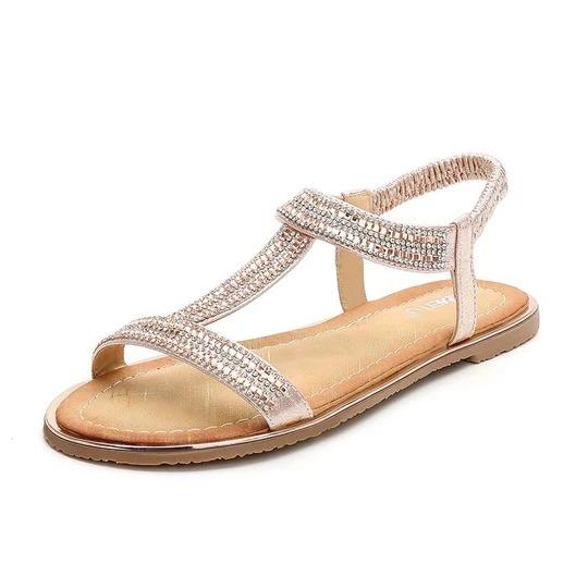 Women sandals Summer Flat Heel Fashionable Bling Sandals New Rhinestone Ladies Elastic Band Open toes Beach Shoes