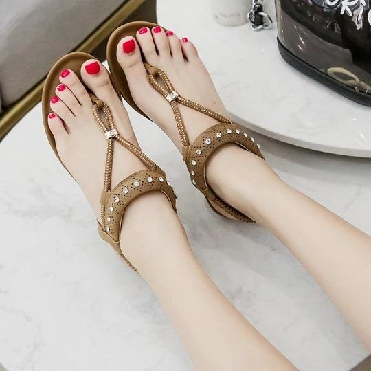 Women Wedges Sandals Shoes For Women Women Ladies String Bead Sandals Casual Wedges Elastic Band Bohemian Beach Shoes Sandals