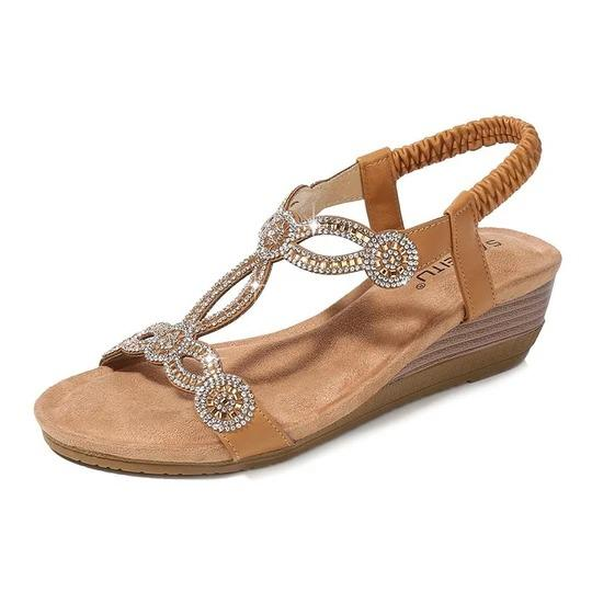 Women Rhinestone Vintage Wedge Crystal Element Sandals Shoes Solid Elastic Band Bohemian Casual Sandals Rome Shoes Sandalias