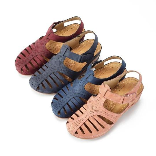 Hollow Out Lightweight Pure Color Breathable Hook Loop Wedges Sandals