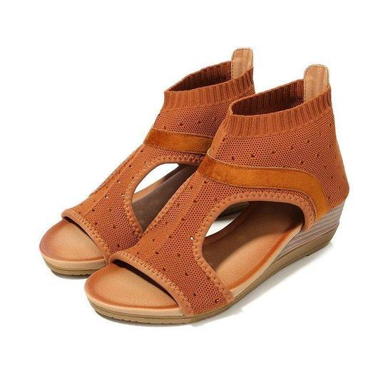 Women Mesh Breathable Knitted Roman Elastic Band Hollow Out Splicing Wedges Sandals