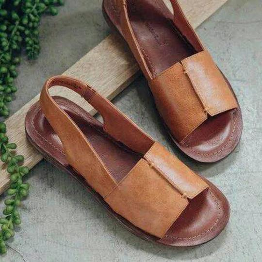 Women Large Size Handmade Stitching Peep Toe Casual Beach Sandals