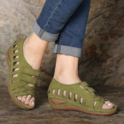 Women Peep Toe Hollow Out Breathable Casual Wedges Sandals