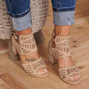 Women Plus Size Breathable Hollow Peep Toe Zipper Chunky Heel Sandals