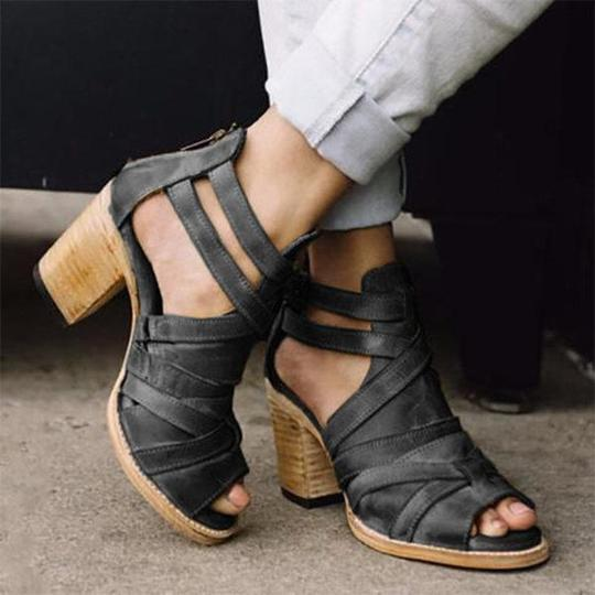 Women Big Size Comfy Cross Band Zipper Chunky High Heel Sandals