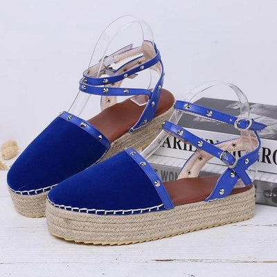 Women Large Size Comfy Rivet Buckle Footwear Closed Toe Platform Sandals