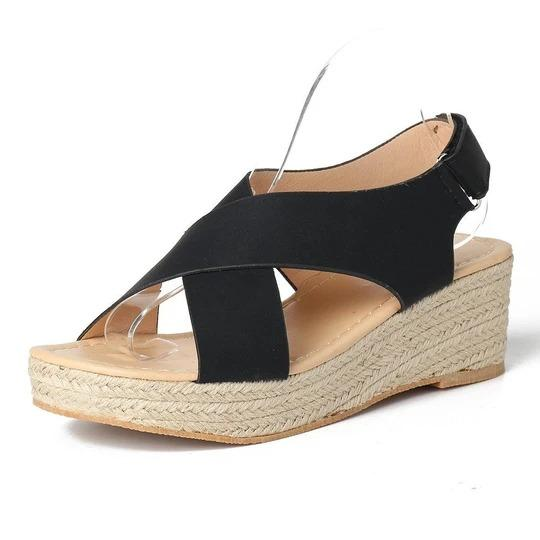 Women Large Size Hook Loop Peep Toe Casual Espadrilles Wedges Sandals