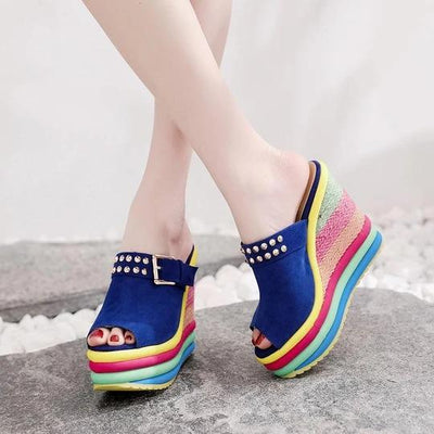 Women Summer Wedges Sandals Bohemia Rainbow Fashion Ankle Buckle Ladies Shoes Hemp Platform Sandals Peep Toe Female Footwear