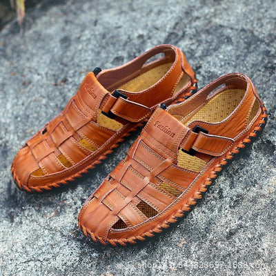 Men's Hollowed Out Outdoor Casual Leather  Sandals Beach Shoes