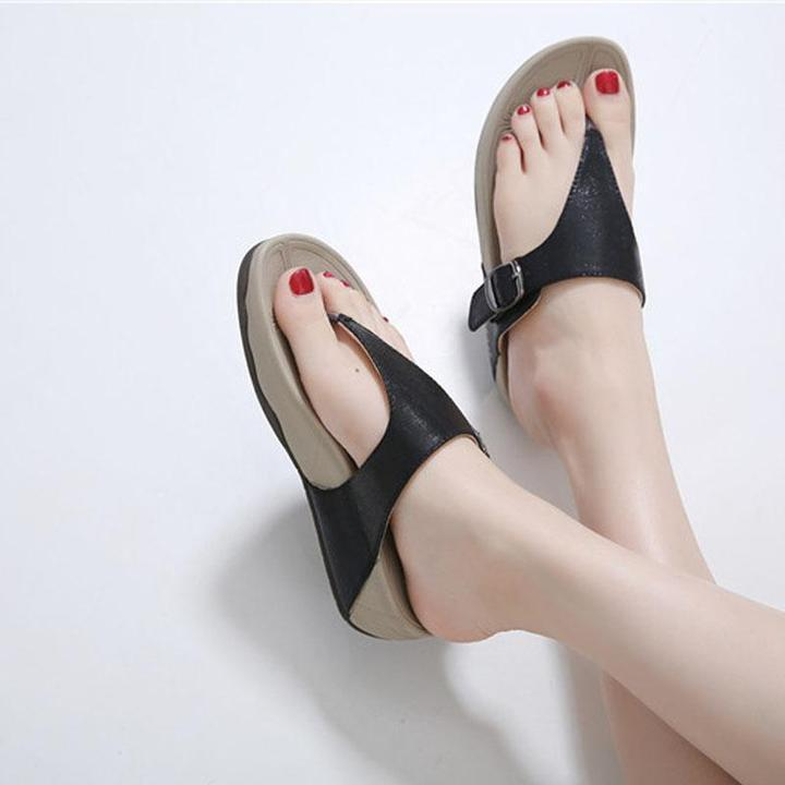 Women Preppy Style Student Women Slippers Thong T Strap Sandals Thick Bottom Light Sole Platform Wedge Heel Shoes