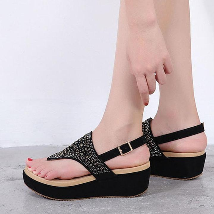 Women new European and American Style Bohemian Slope Heeled Sandals Women Round Toe Fashion Summer Beach Shoes