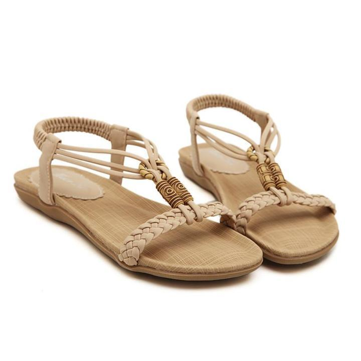 Woman Weave Beading Women Sandals Flat Comfortable Shoes