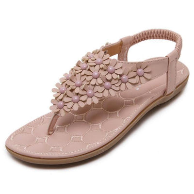 Women Summer Sandals T-strap Flip Flops Flat Sandals Flowers Gladiator Sandal Shoes
