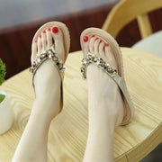 Women Fashion Beaded Soft Bottom Slippers Stars Flower Comfortable Flat Shoes