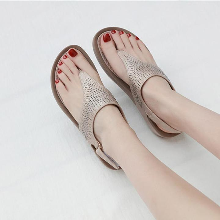 Women Bohemian Crystal Slope-heeled Sandals Comfortable Beach Shoes
