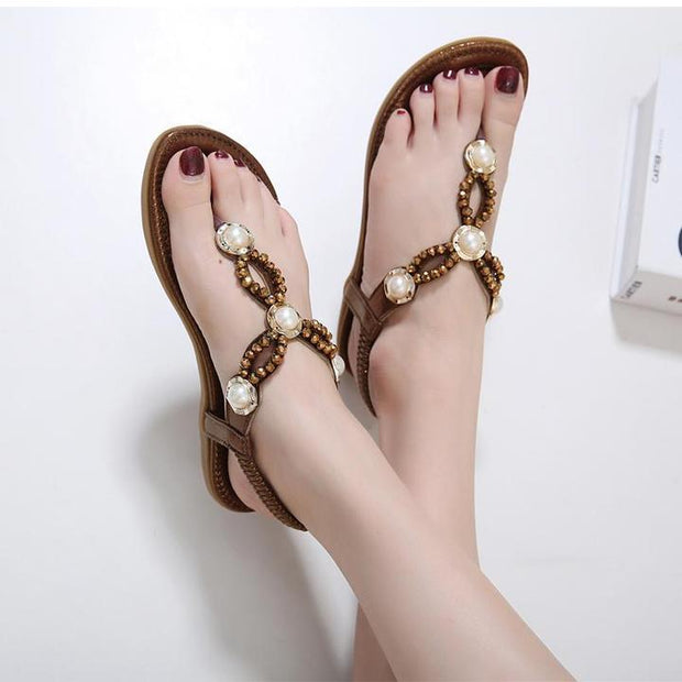 Women Fashion Rhinestone String Beaded Flip Flops For Ladies Casual Flat Sandals