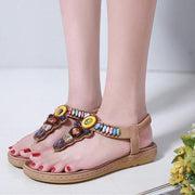 Women Sandals Beaded Bohemian Flat Casual Comfortable Soft Beach Shoes