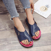 Women Casual Flat Heel Sandals Buckle Strap Open Toe Shoes